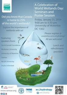 Ecohydrology poster for World Wetlands Day Symposium, January 31, 2014
