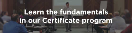 Learn the fundamentals in our certificate program (button).