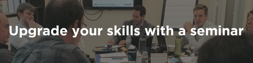 Upgrade your skills with a seminar (button).