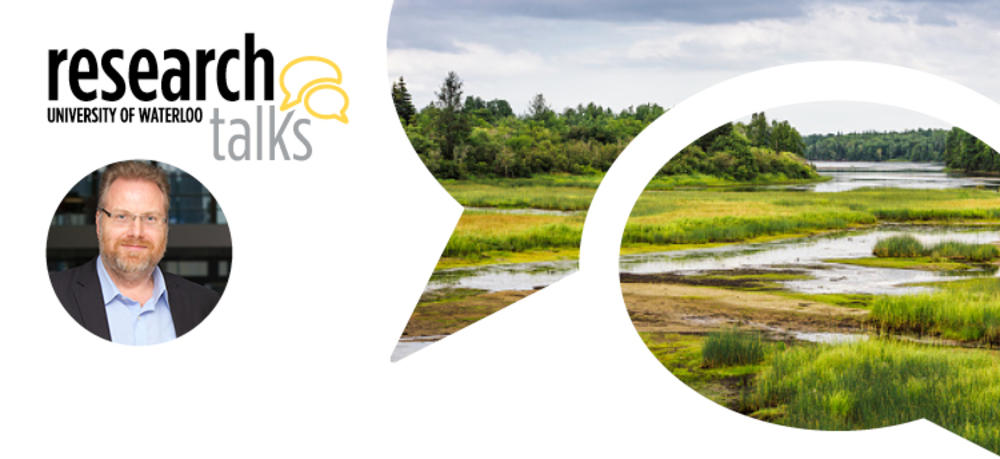 Research talks banner with head shot of Roy Brouwer and a picture of wetlands landscape.