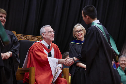 Provost Ian Orchard with Margaret Insley at convocation