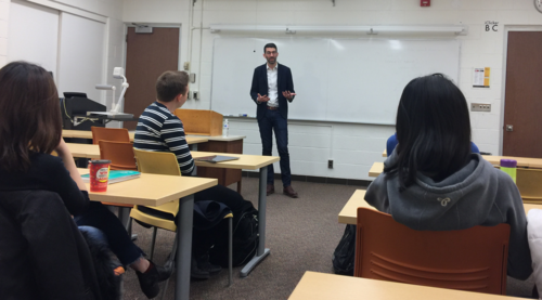 Brian DePratto speaks to students