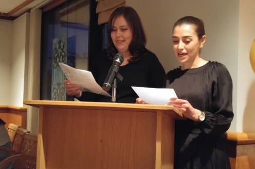 Photo of Allison Mascella and Ghazal Memartoluie at podium