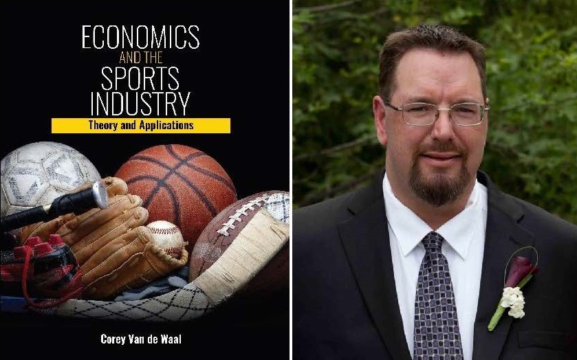 Image of Corey Van de Waal and the book cover of economics and the sports industry