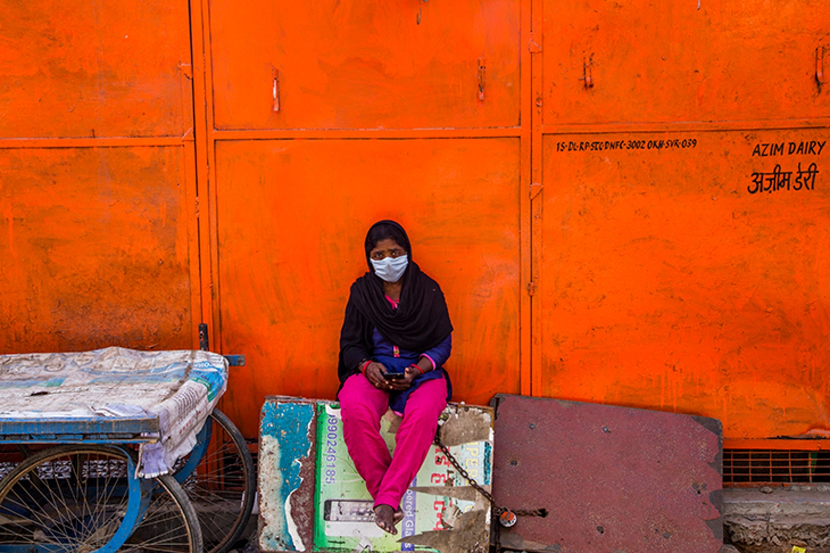 A masked woman in New Delhi, India