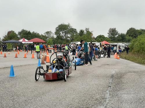 Race cars lining up ot start the race