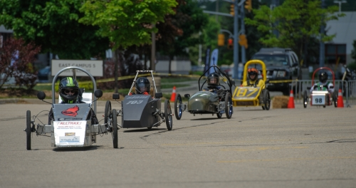 Cars compete at the Waterloo EV Challenge