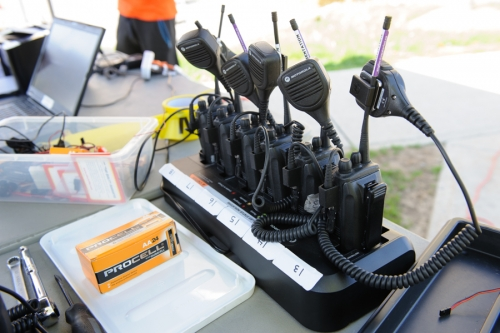 Radios set on their charging station
