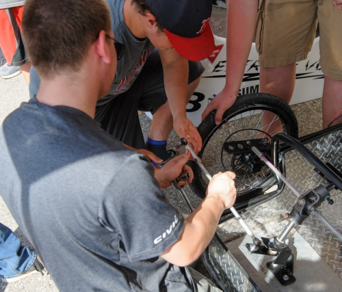 Banting adjusting their steering system