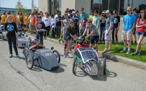 Guelph Collegiate's car rolls into position