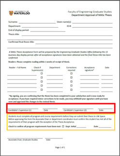 Department Approval of MASc Thesis Form