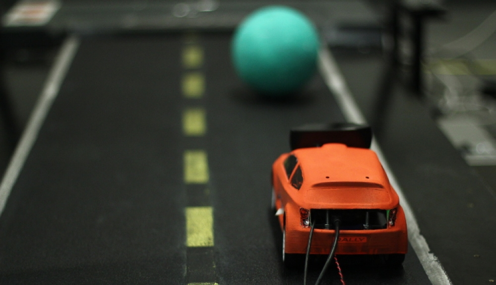 car on a treadmill