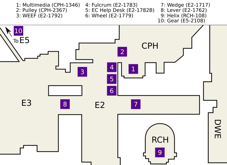 Map of Engineering buildings centered on E2