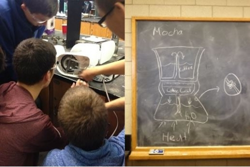 Students examining the innards of a coffee maker and a blackboard shows a diagram of the inner workings of a coffee maker