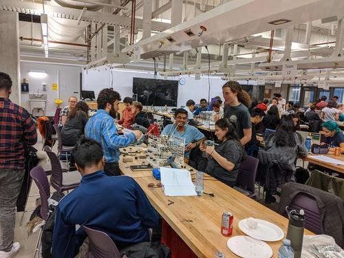 Team of students working on 1B Nano Engineering Design Days activity