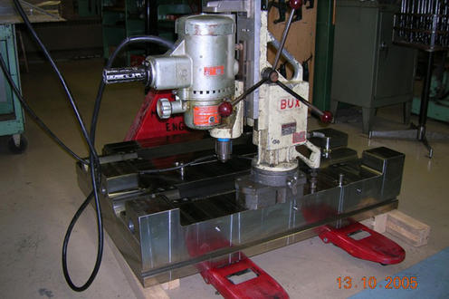 Drilling die blocks with magnetic drill