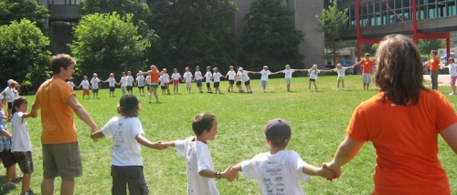 Camp playing outdoor game