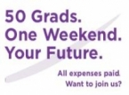 50 Grads Weekend event button with link to the event's website