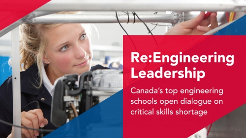 Engineering Leadership young woman working with a mechanical device