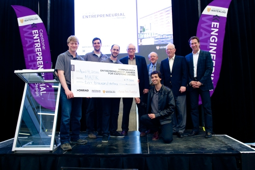 MAJIK Systems receiving cheque for Norman Esch Entrepreneurship Award