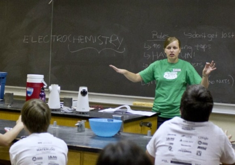 Engineering co-op student giving a lesson on electrochemistry