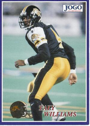 A card of pro football player Tally Williams.