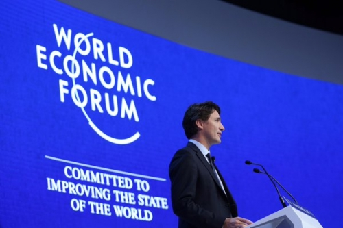 Canadian Prime Minister Justin Trudeau speaking at World Economic Forum January 2016