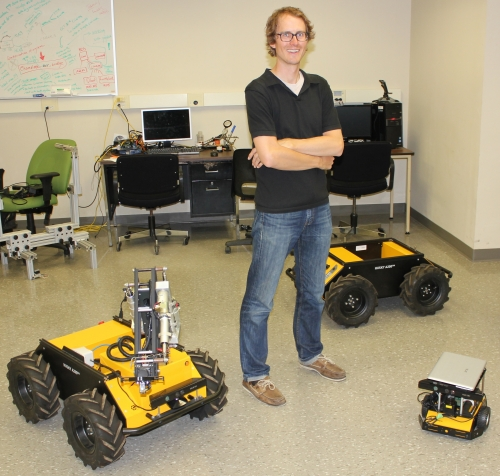 Stephen Smith in his robotics lab at Waterloo Engineering.