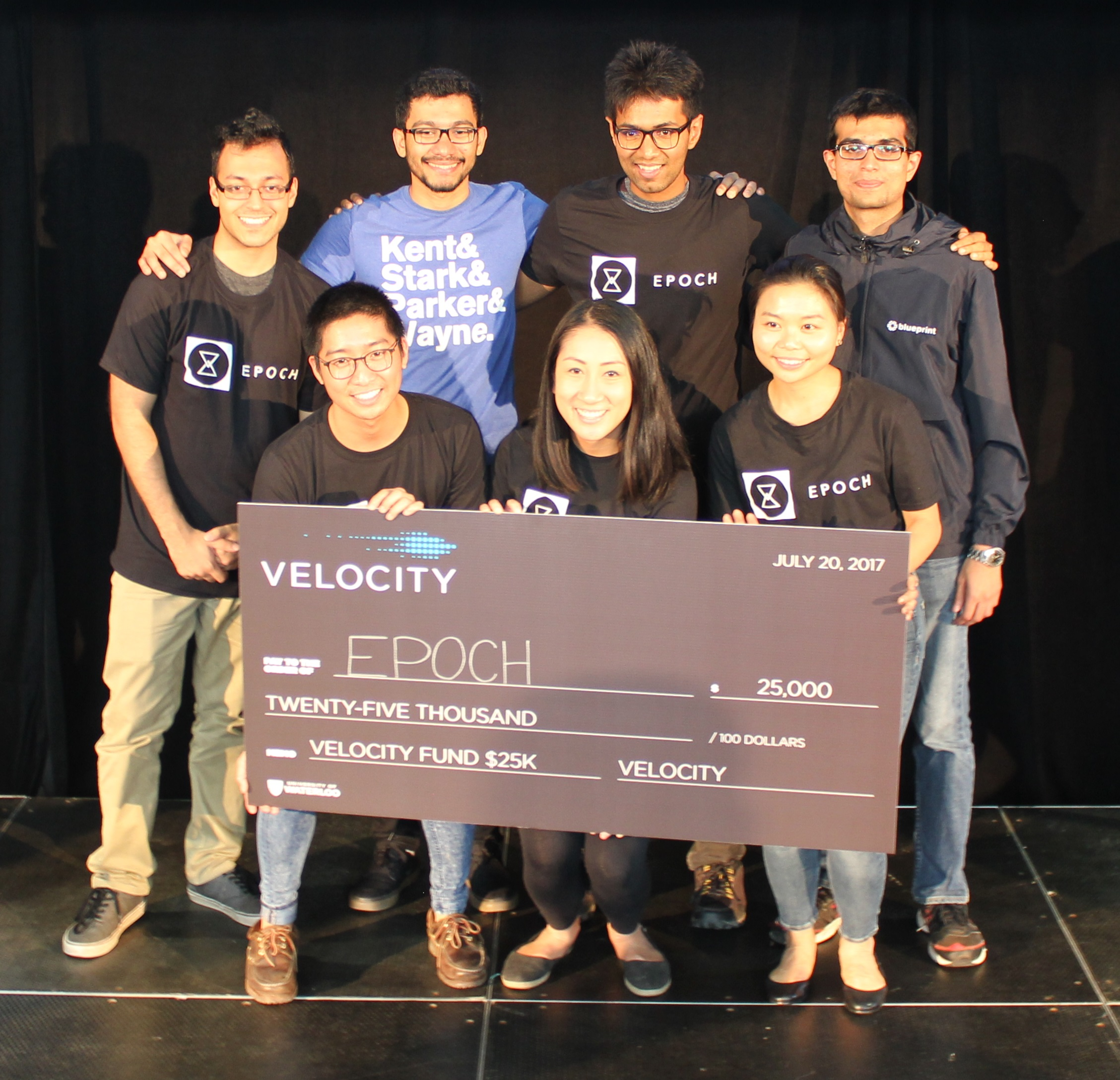 Members of team EPOCH pose with their cheque.