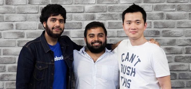 Smart contact lens co-founders Maarij Baig, Harry Gandhi and Huayi Gao.