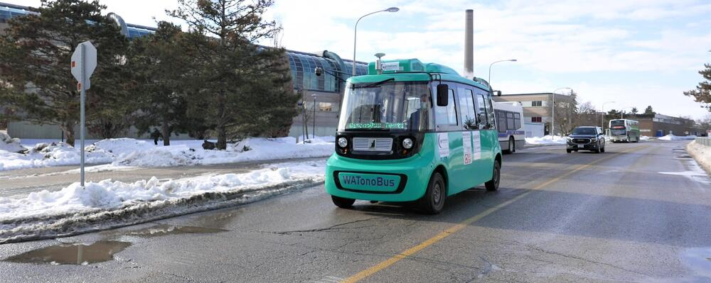 WATonoBus self-driving shuttle bus in testing on the Ring Road.