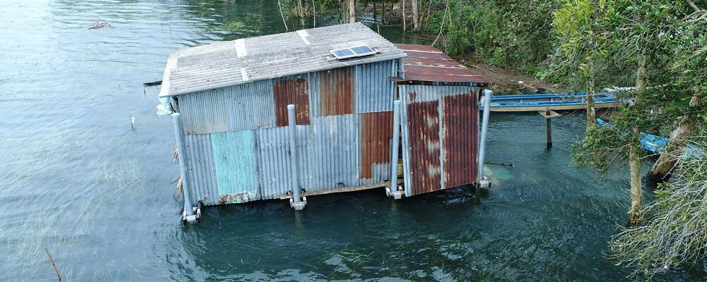 A floating house.
