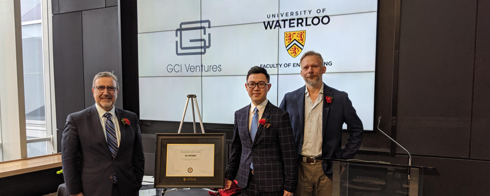 President and Vice-Chancellor Feridun Hamdullahpur, Principal, GCI Ventures Co-Founder Larry Liu, Paul Fieguth Associate Dean