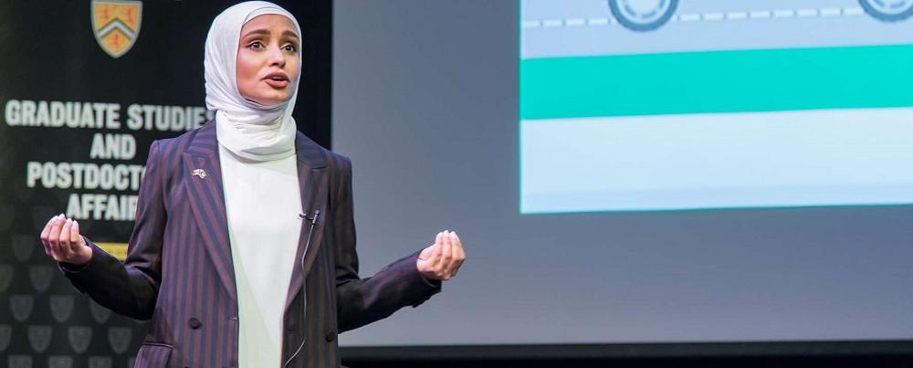 Haya Almutairi makes her pitch at the 3MT finals