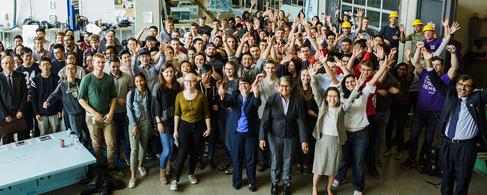 Group shot of students, faculty, and partners at the Sedra Student Design Centre