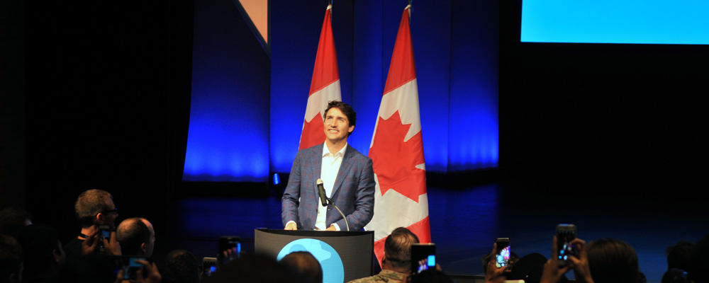 Prime Minister Justin Trudeat at Uwaterloo Hack the North