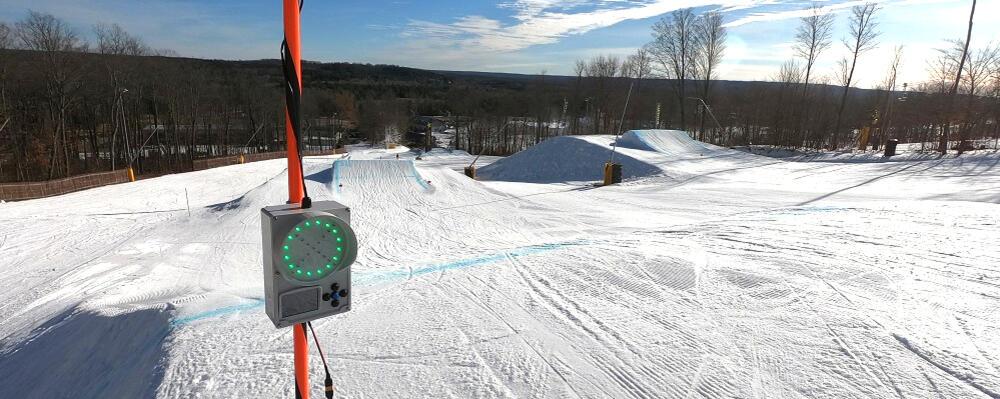 Ski hill and SmartPatrol warning device.