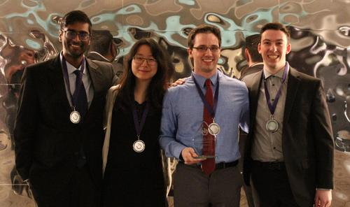 Waterloo Engineering teammates (left to right) Yuvin Weerasinghe, Jia Xin (Maggie) Han, Patrick Groh and Kripstopher Griffin pose with their prizes at the recent Canadian Engineering Competition.