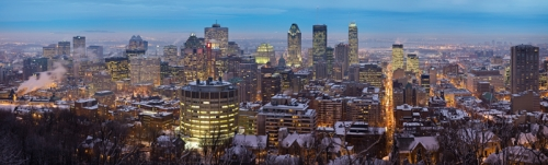 Montreal skyline in twilight