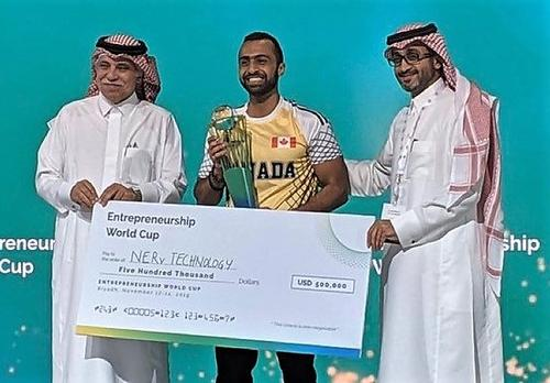 Amr Abdelgawad, a co-founder of NERv, celebrates a $500K win at a global pitch competition in Saudi Arabia this week.