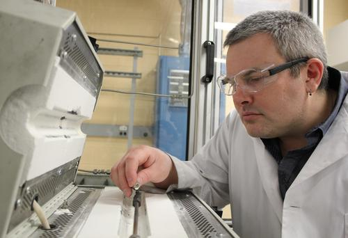 David Simakov works in his lab at Waterloo Engineering.