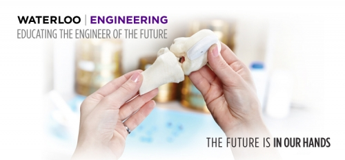 """Educating the engineer of the future campaign with tagline, """"the future is in our hands"""" text laid over a hand holding 3d printed bone"""