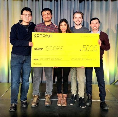 Scope members (left to right) Zhenle Cao, Ishan Mishra, Alisha Bhanji, Holden Beggs and Fernando Pena pose with their ceremonial cheque.