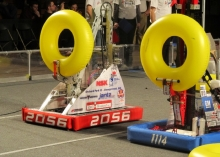 Two robots facing off at competition