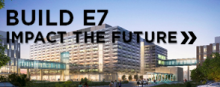 "Rendering of Engineering 7 building. ""Build E7, impact the future."""