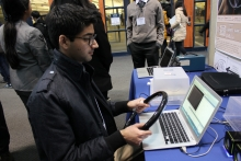 Student trying out Mood Monitoring system