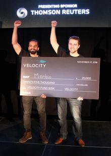 Moin Ahmed (left) and Shane Kilpatrick of Membio celebrate their $25,000 win at the Velocity Fund Finals.
