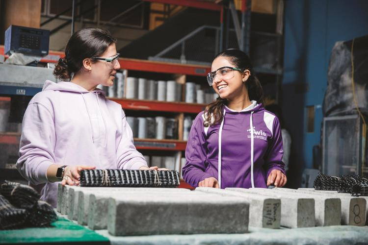 Two female engineering students working