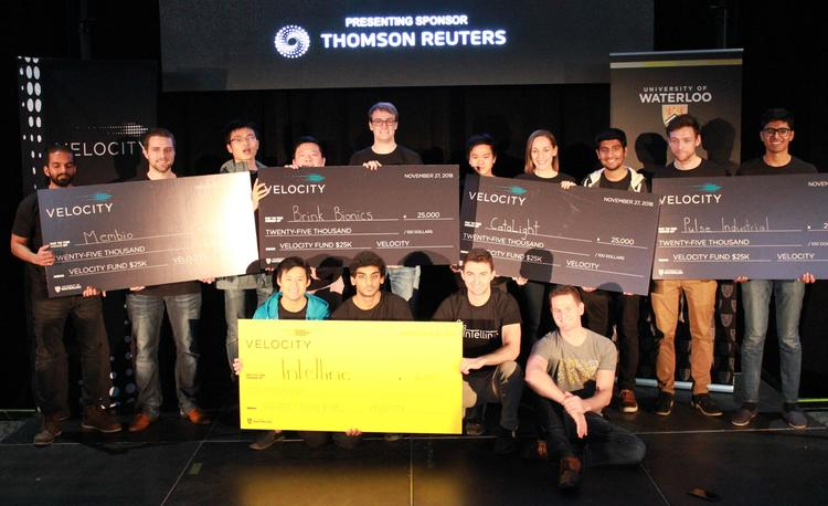 Winners in the $25,000 and hardware categories at the Fall 2018 edition of the Velocity Fund Finals pose with their cheques.