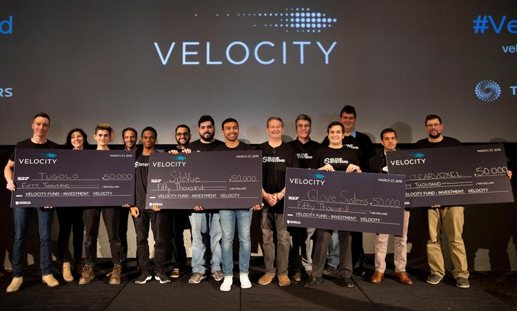 Winners with their ceremonial cheques at the Velocity Fund Finals held at the Tannery Event Centre.